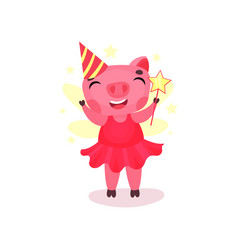 cute pig character in a pink dress and party hat vector image