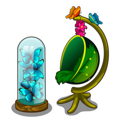 Decorative lamp-trap and chair in form of plant vector