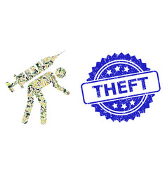 Distress theft stamp and military camouflage vector