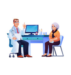 Doctor consult elderly lady therapist and patient vector
