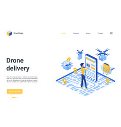 drone delivery landing page man ordering using vector image