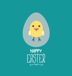 easter greeting card with cartoon chicken vector image vector image