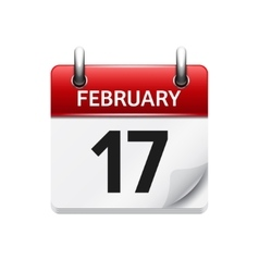February 17 flat daily calendar icon Date vector