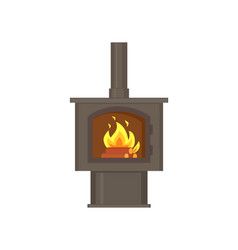 fireplace with fire burning inside with pipe tube vector image