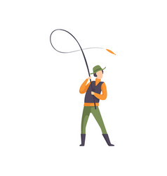 Fisherman throwing spinning into the water vector