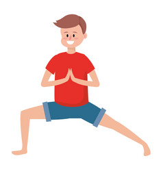 Fit man practicing yoga vector