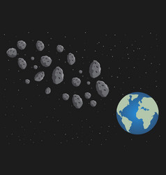 Flat asteroids and planet earth space danger vector