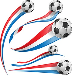 France and Netherlands flag set with soccer ball vector