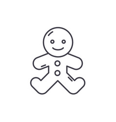 gingerbread man line icon concept gingerbread man vector image