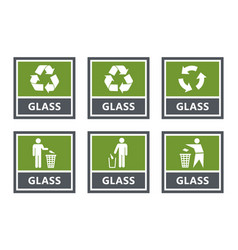 glass recycling labels set waste sorting icons vector image