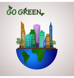 Go green design template Eco planet vector image