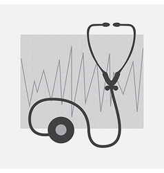 Grayscale ECG and Stethoscope vector image