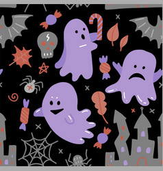 halloween dark seamless pattern flat with ghost vector image