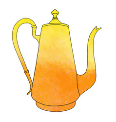 Hand drawn watercolor coffee pot vector