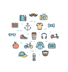 Hipster icon round design template thin line set vector