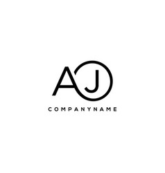 Initial aj letter logo with circle template vector