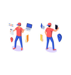 isometric 3d young man character with gadgets vector image