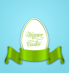 label with ribbon as easter paper egg vector image
