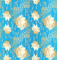 Light blue vintage floral seamless pattern vector image