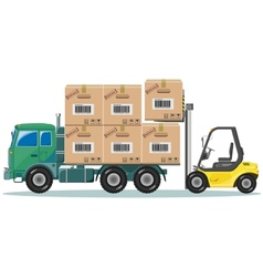 Loader ships the goods in warehouse vector
