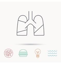 Lungs icon Transplantation organ sign vector image