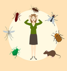 madly frightened woman girl afraid pests vector image