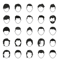 male hairstyle black simple icons set vector image
