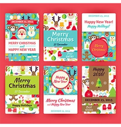 Merry Christmas Template Invitation Set in Modern vector image