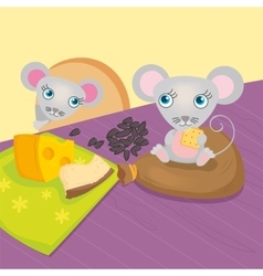Mouse Eat Seeds And Cheese vector