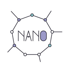 nano molecular structure icon in color section vector image