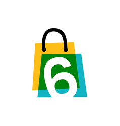 Number six 6 shop store shopping bag overlapping vector