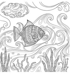 ocean fish coloring fashion pictures of water sea vector image