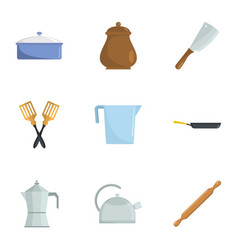 Open kitchen icons set cartoon style vector