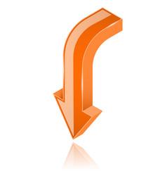 Orange arrow 3d shiny downwards sign vector