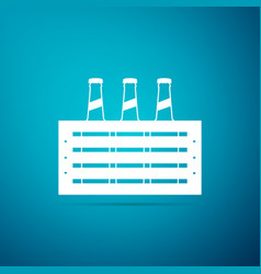 Pack of beer bottles icon case crate beer box vector