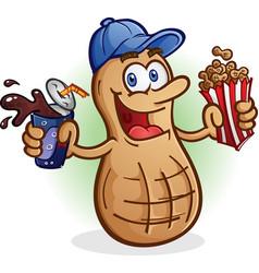 Peanut cartoon character drinking soda pop vector