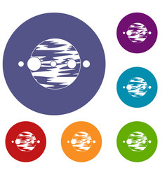Planet and moons icons set vector