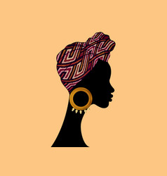 Portrait beautiful african woman in ethnic turban vector