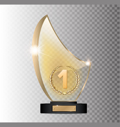Rectangular gold glass award winner 1st place vector