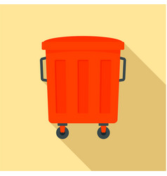 red garbage box icon flat style vector image