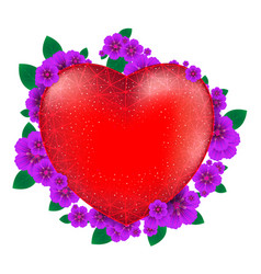 red heart with flowers to happy valentines day vector image