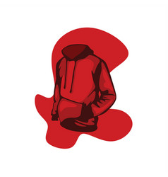 red hoodie front view vector image