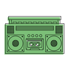 Retro stereo cassette player music recorder vector