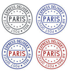 round postmarks paris france on white background vector image