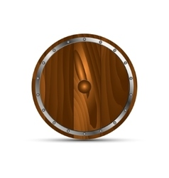 Round shield from wood vector image