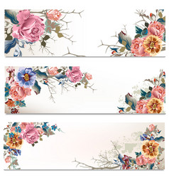 Save date cards set in floral style vector