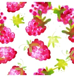 Seamless pattern of watercolor raspberry vector