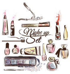 set from cosmetics in watercolor style vector image