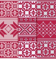 Set geometric knitted pattern vector image
