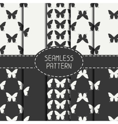 Set of monochrome abstract seamless pattern with vector image